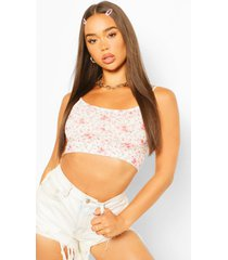 floral ditsy print strappy crop top, ivory