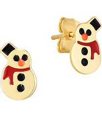 14k yellow gold & enamel snowman earrings