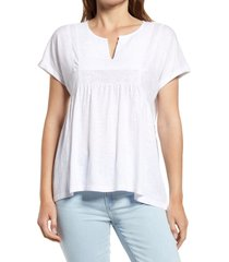 caslon(r) embroidered cotton slub jersey top, size small in white at nordstrom