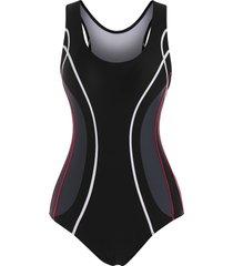 binding color blocking racerback one-piece swimsuit