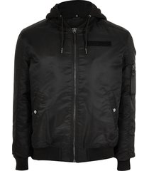 river island mens big and tall black hooded bomber jacket