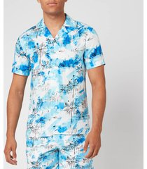 orlebar brown men's travis nick turner illustration capri collar shirt - blue - xl