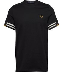 abstract cuff t-shirt t-shirts short-sleeved svart fred perry