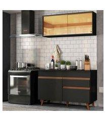 cozinha compacta madesa reims 120001 com armário e balcão preto preto