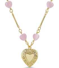2028 chain accent heart pendant necklace