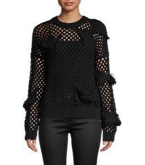 redvalentino women's open-knit virgin wool sweater - nero - size m