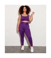 calça legging plus size com proteção uv mindset sport roxa