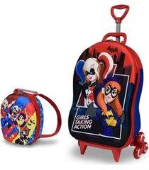 mochila escolar 3d com rodinhas e lancheira maxtoy super hero batgirl harley quinn feminina