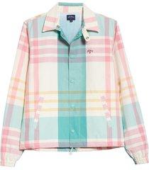men's noah madras campus jacket, size large - blue