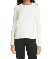 women's l'agence erica pullover sweater, size x-large - ivory