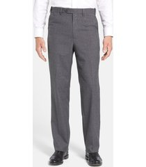 men's berle self sizer waist tropical weight flat front classic fit dress pants, size 35 x - grey