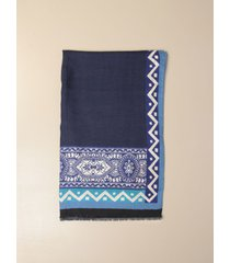 etro neck scarf etro scarf in silk and cashmere with ethnic pattern