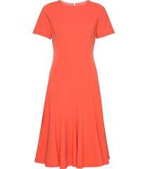 cap sleeve flare hem dress knälång klänning orange calvin klein