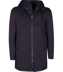 herno blue viscose padded coat