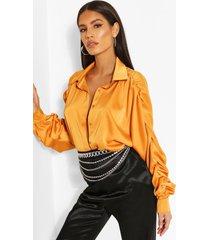 woven rouched sleeve shirt, orange