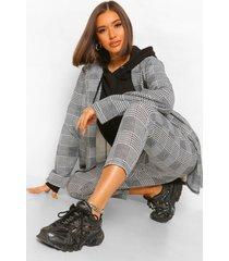 getailleerde geruite oversized blazer en broek, black