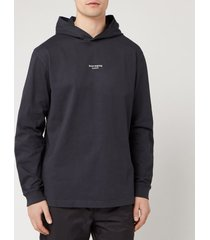 acne studios men's reverse hooded sweatshirt - black - xl