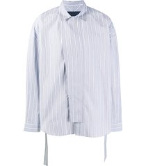 juun.j vertical striped belted shirt - blue