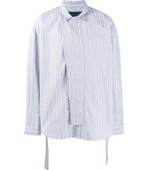 juun.j vertical striped belted shirt - blue