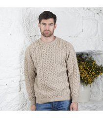 men's traditional merino wool aran sweater beige large