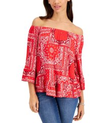 style & co petite bandana-print top, created for macy's
