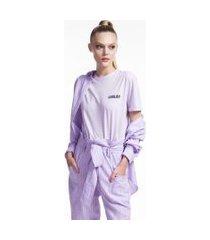 blusa de malha com silk localizado lilas lavender