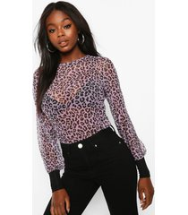 leopard mesh top with contrast cuffs, lilac