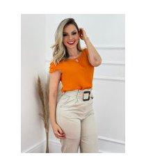 blusa manga curta camadas laranja