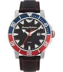 tommy bahama men's multi colored bezel black leather strap watch, 45mm