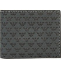 emporio armani men's all over print wallet - grey/black
