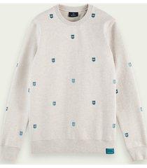 scotch & soda sweater met print en ronde hals