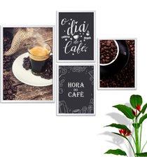 kit conjunto 4 quadro oppen house s frases o dia começa com café lojas cafeteria xícaras gráos moldura branca decorativo interiores    sem vidro