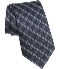 men's ermenegildo zegna check silk tie, size one size - blue