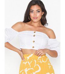 glamorous puff offshoulder button top t-shirts