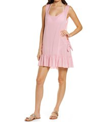 women's chelsea28 tayla side tie cover-up minidress, size small - pink