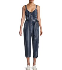 sanctuary women's striped self-tie jumpsuit - black iris - size l