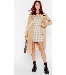 womens sheen you around collared vinyl coat - camel