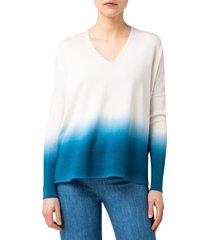women's akris punto dip dye v-neck sweater, size 8 - blue