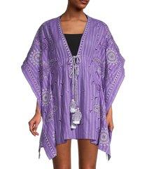 ramy brook women's kristos embroidery poncho coverup - purple haze - size xs/s