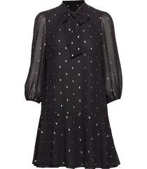 metallic dot tie-neck dress korte jurk zwart banana republic