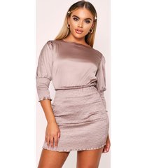 shirred dress, taupe