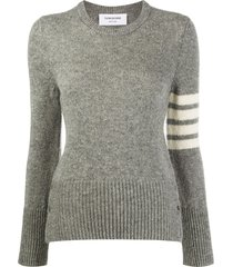 thom browne jersey stitch classic crew neck pullover w/ 4 bar in