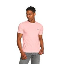 camiseta calvin klein masculina small logo rosa