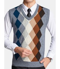 uomo casual gilet in maglia di lana e felpa a scacchi pullover con collo v regolar fit maglione