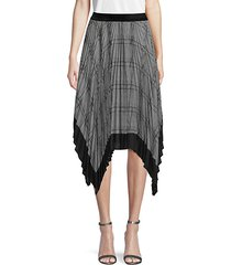 plaid handkerchief hem pleated skirt