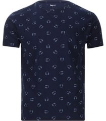 camiseta hombre audifonos color azul, talla l