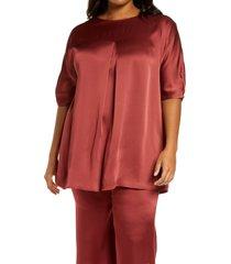 plus size women's marina rinaldi fiocco frisotino tunic top, size 20w - brown
