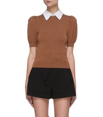 'chase' puff sleeve detachable collar knit top
