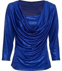 maglia a maniche lunghe con scollo a cascata (blu) - bodyflirt