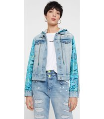jean and oriental patch jacket - blue - 36
